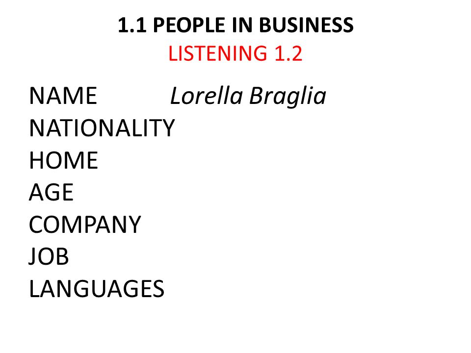 1.1 PEOPLE IN BUSINESS LISTENING 1.2