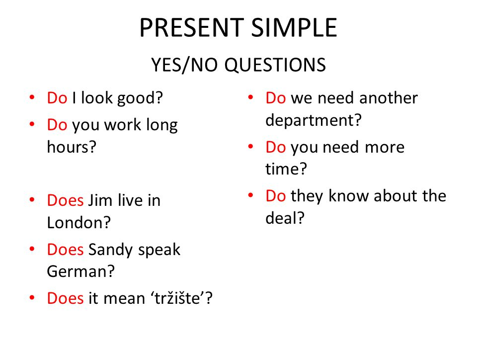 PRESENT SIMPLE YES/NO QUESTIONS