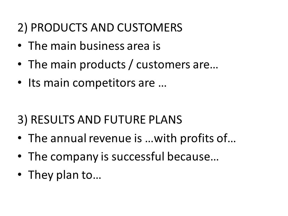 2) PRODUCTS AND CUSTOMERS