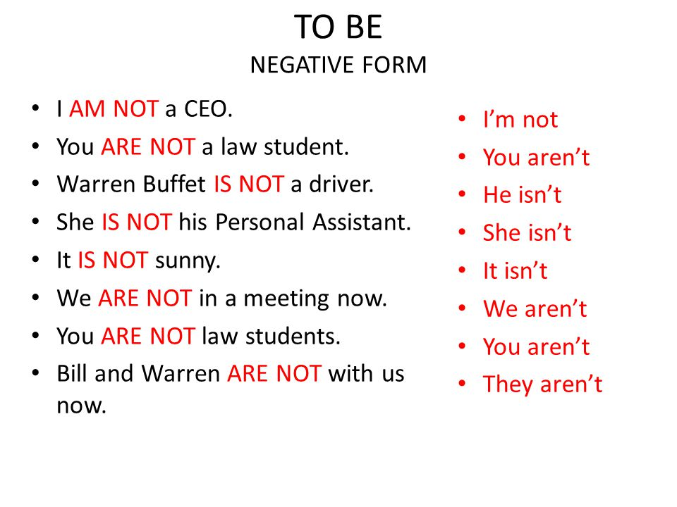 TO BE NEGATIVE FORM I AM NOT a CEO. I'm not You ARE NOT a law student.