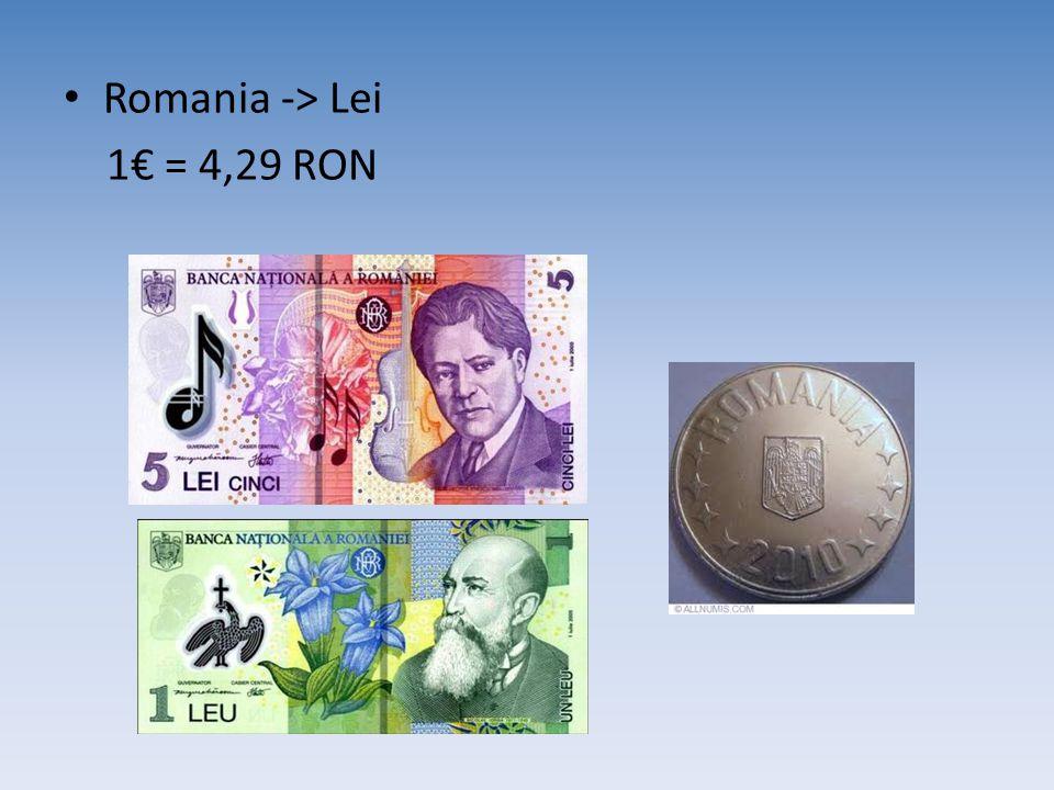 Romania -> Lei 1€ = 4,29 RON