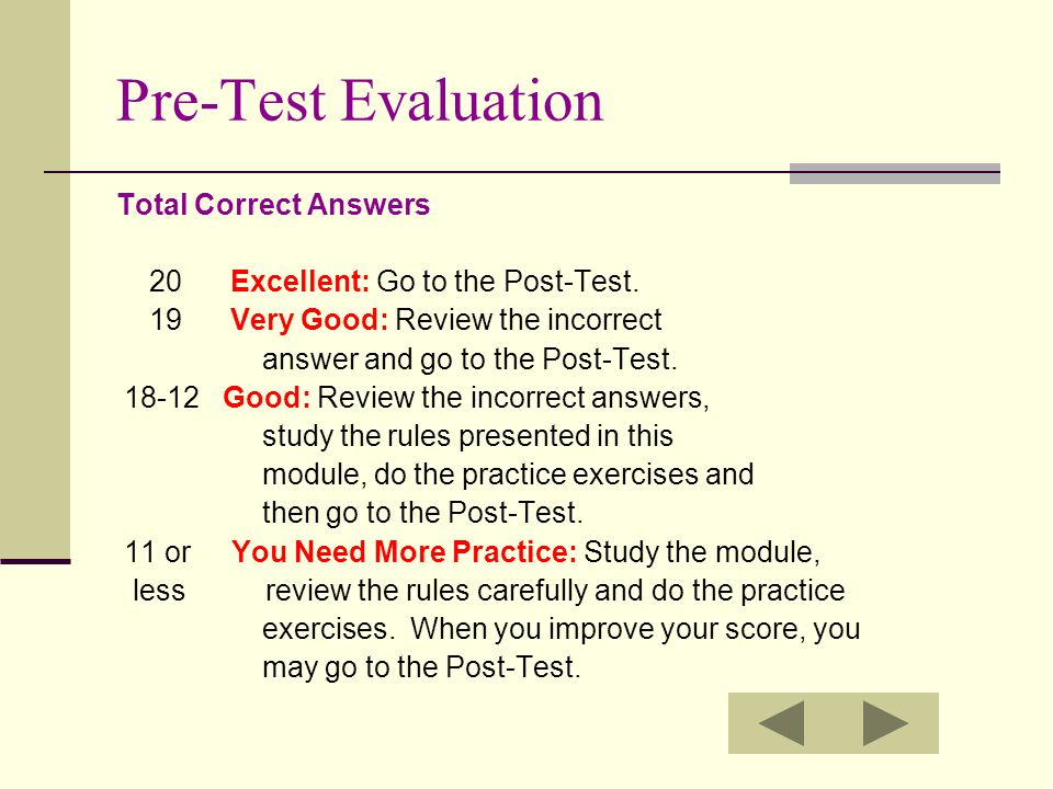 Pre-Test Evaluation Total Correct Answers