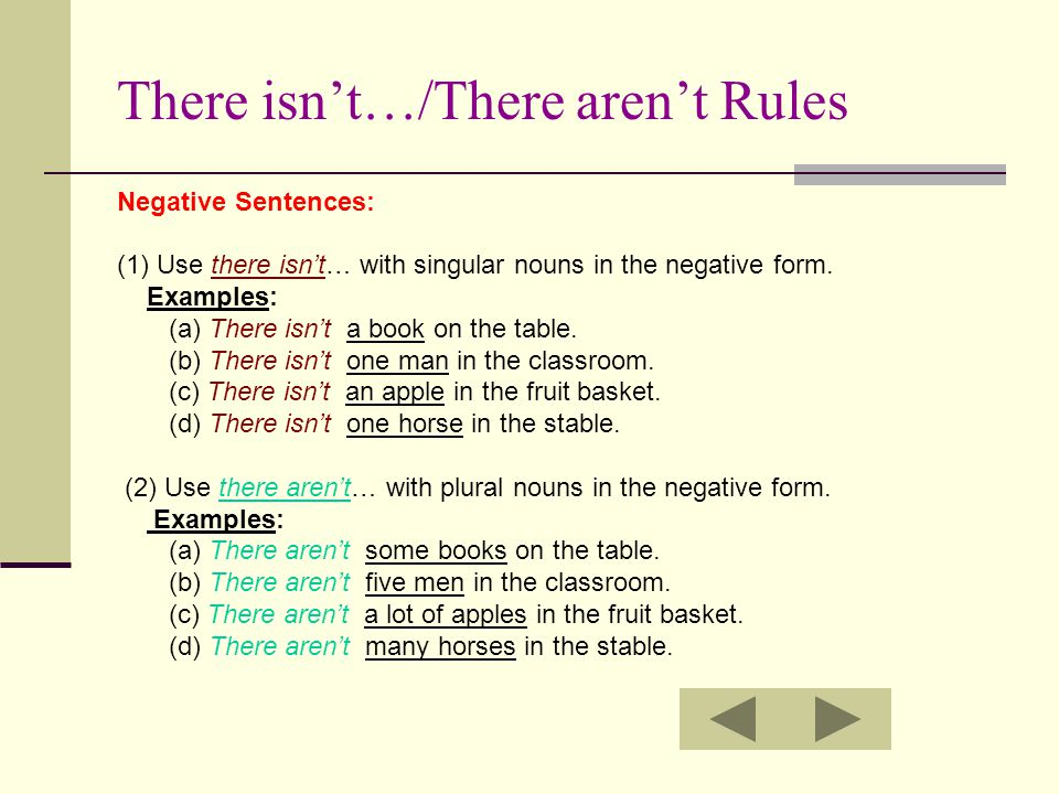 There isn't…/There aren't Rules