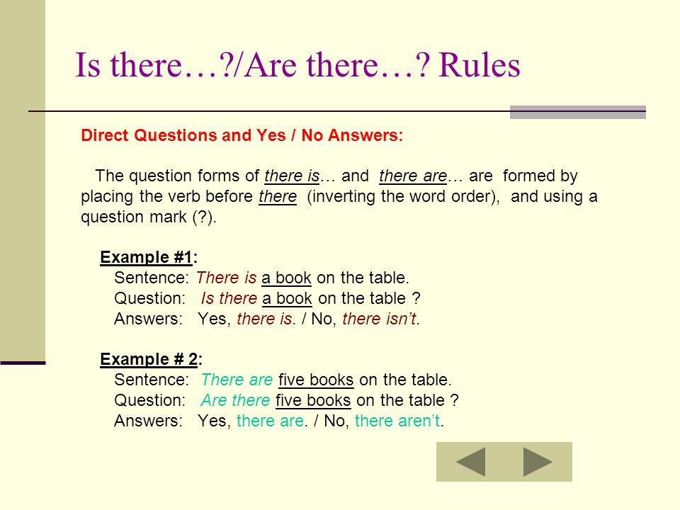 Is there… /Are there… Rules