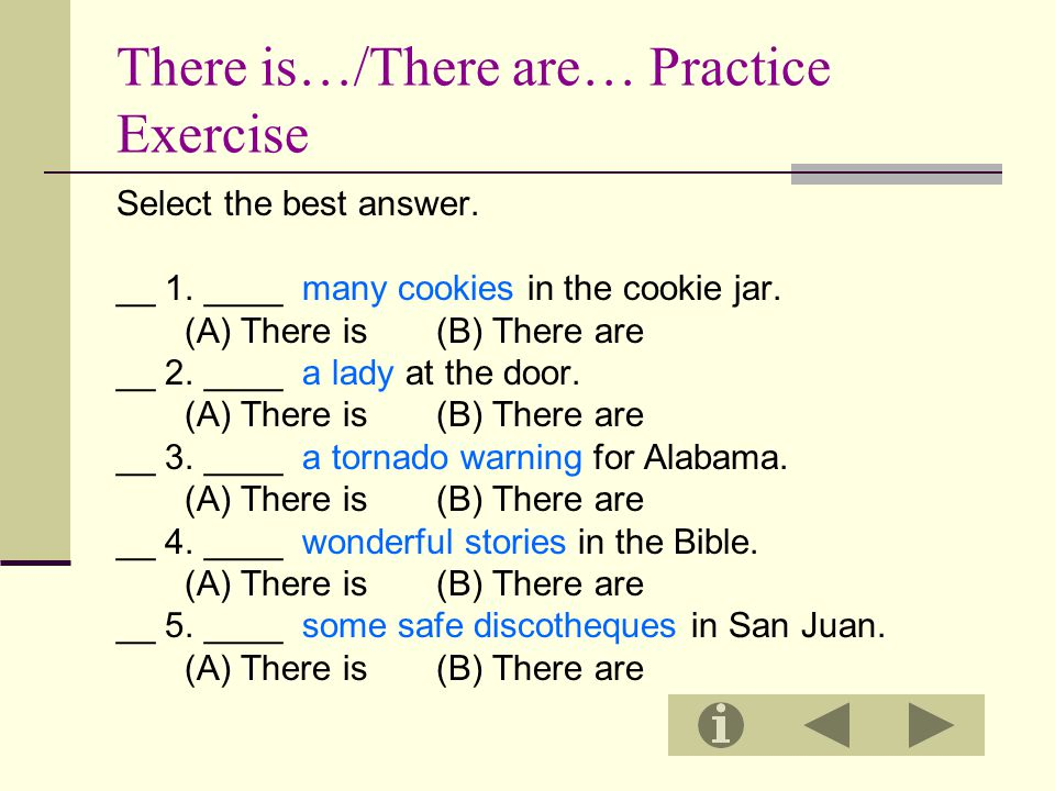 There is…/There are… Practice Exercise