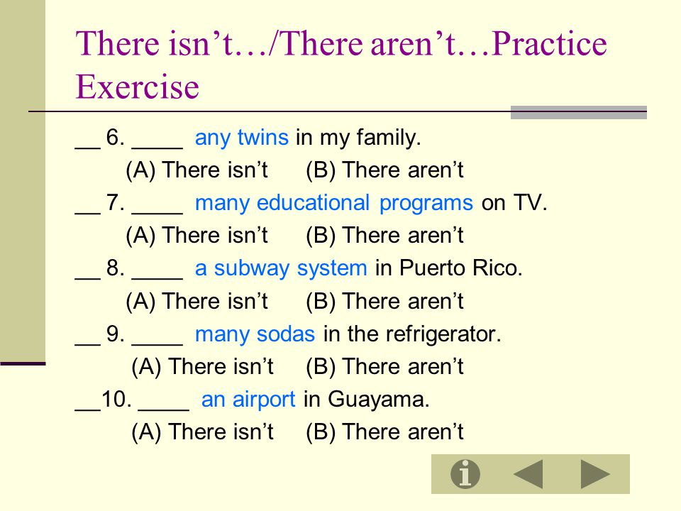 There isn't…/There aren't…Practice Exercise
