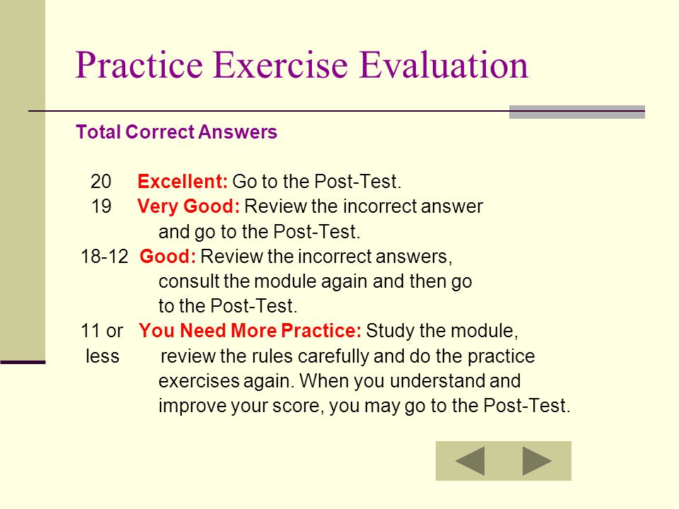 Practice Exercise Evaluation