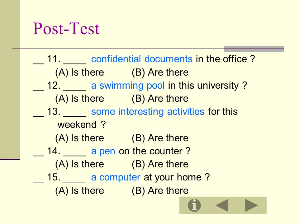 Post-Test __ 11. ____ confidential documents in the office