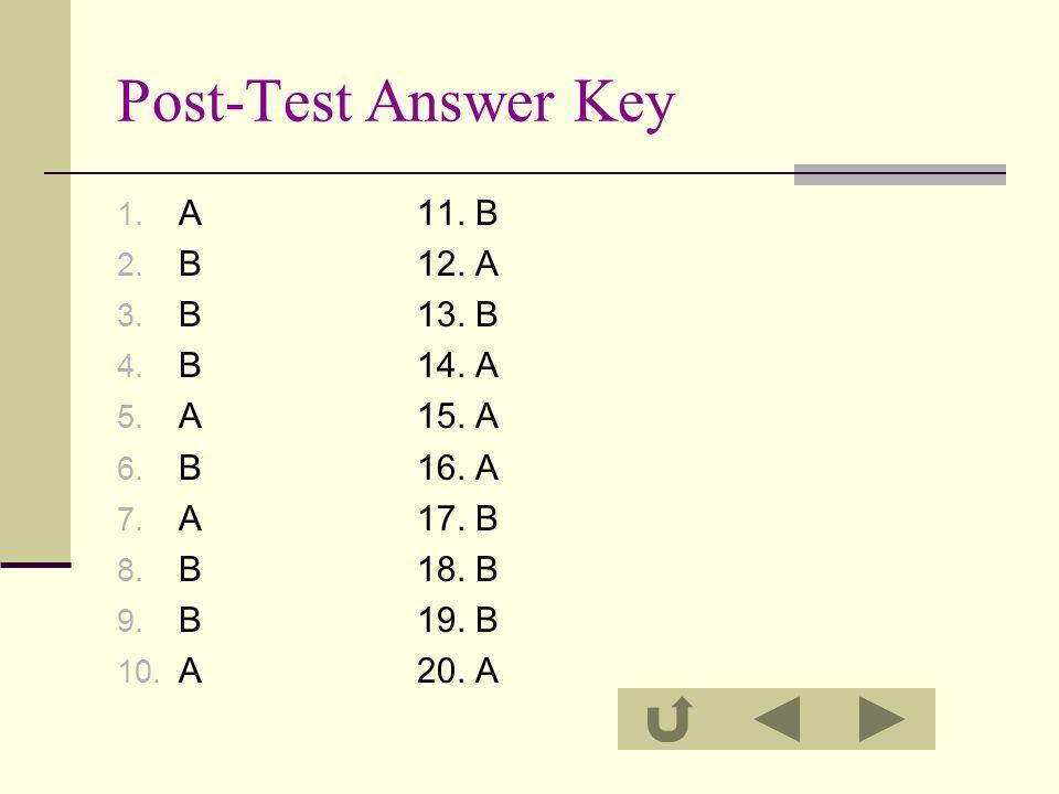Post-Test Answer Key A 11. B B 12. A B 13. B B 14. A A 15. A B 16. A