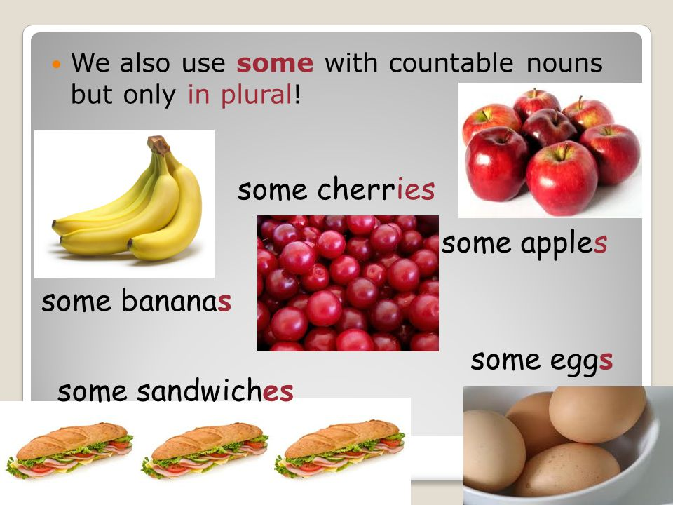 some cherries some apples some bananas some eggs some sandwiches