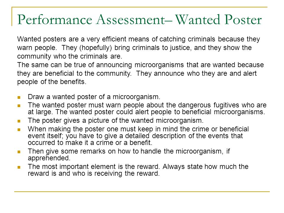 Performance Assessment– Wanted Poster