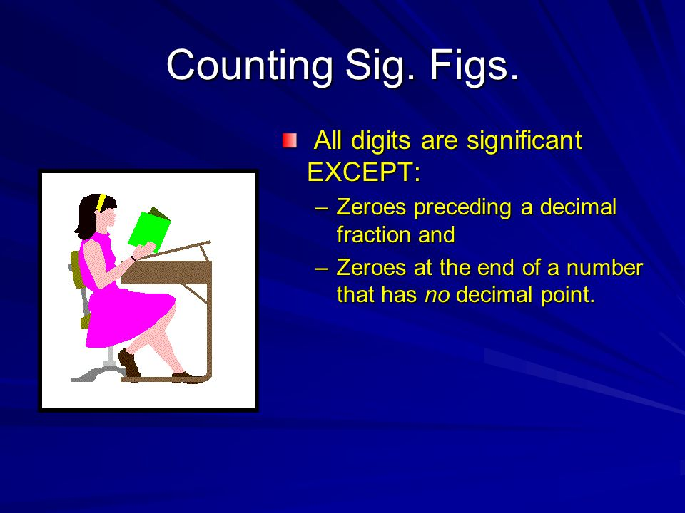 Counting Sig. Figs. All digits are significant EXCEPT: