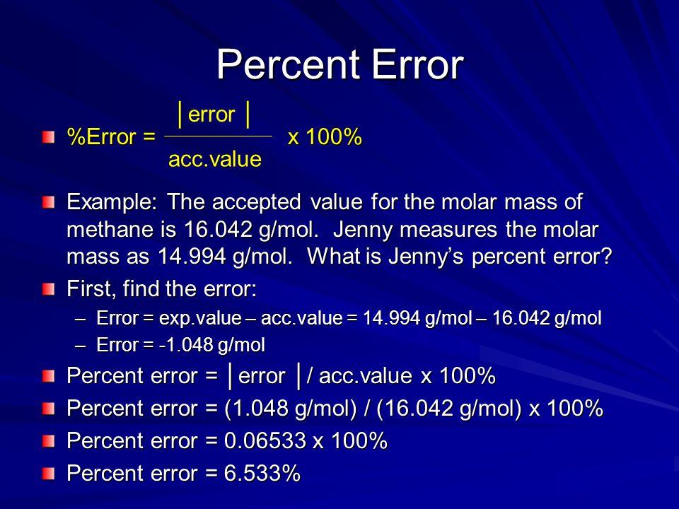 Percent Error │error │ %Error = x 100% acc.value