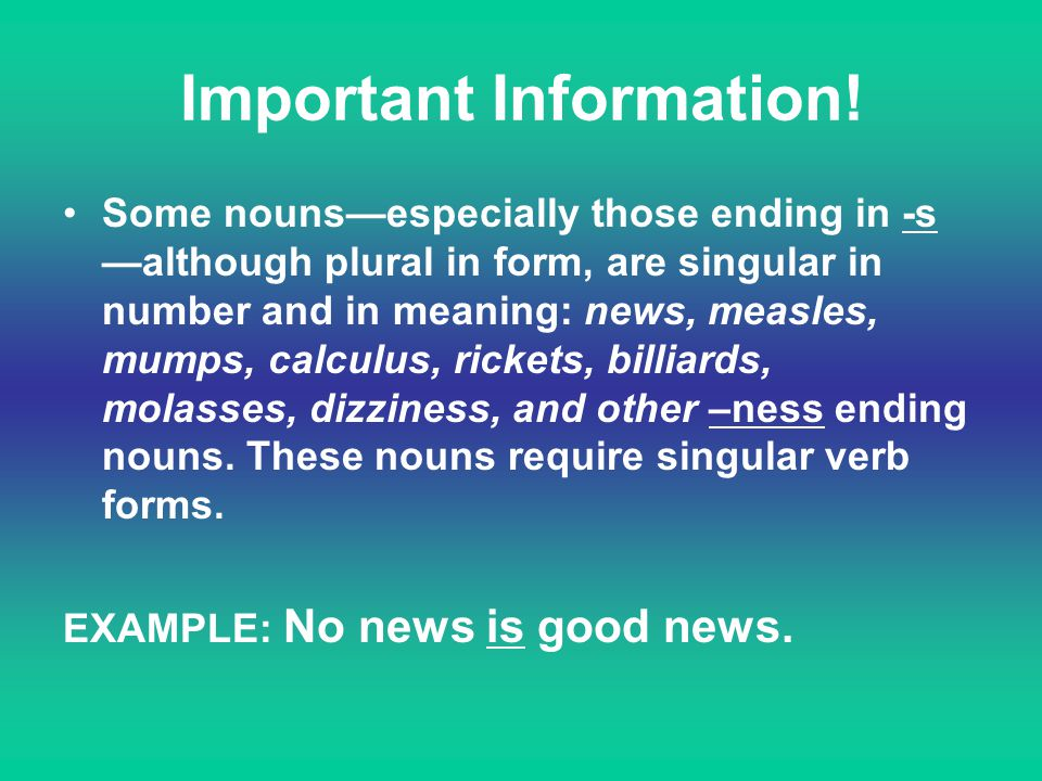Important Information!