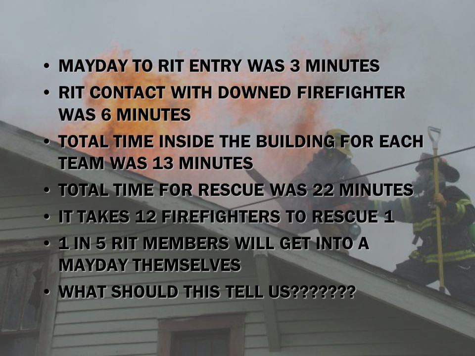 MAYDAY TO RIT ENTRY WAS 3 MINUTES