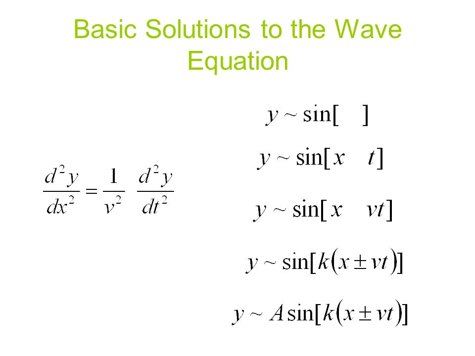 Basic Solutions to the Wave Equation