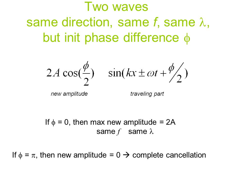 Two waves same direction, same f, same l, but init phase difference f
