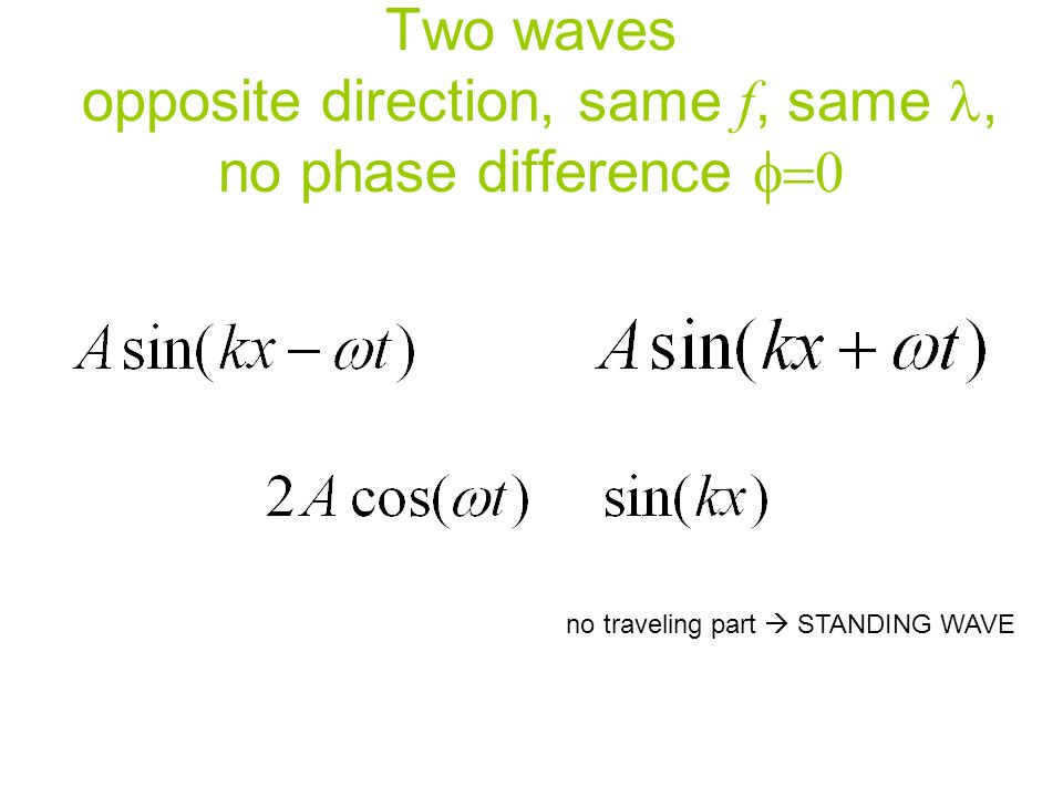 Two waves opposite direction, same f, same l, no phase difference f=0