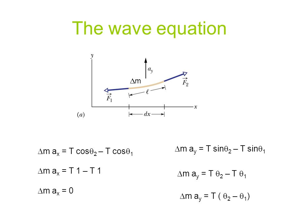 The wave equation Dm ay = T sinq2 – T sinq1 Dm ax = T cosq2 – T cosq1