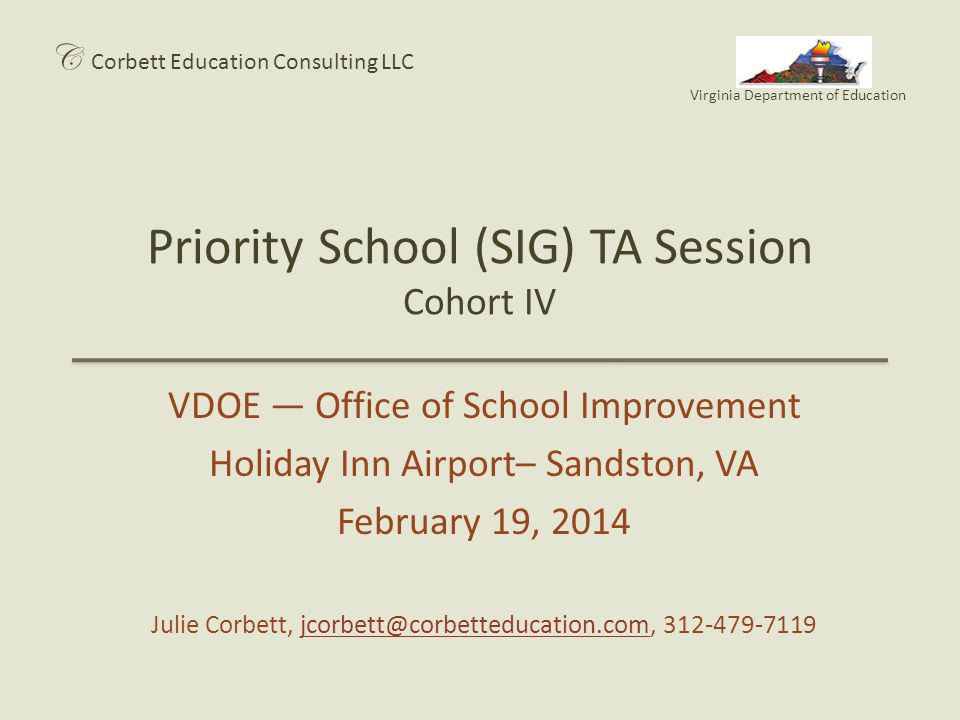 Priority School (SIG) TA Session Cohort IV
