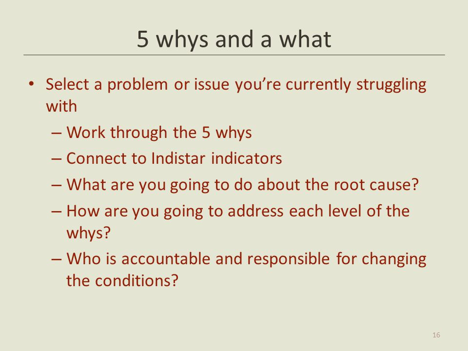 5 whys and a what Select a problem or issue you're currently struggling with. Work through the 5 whys.