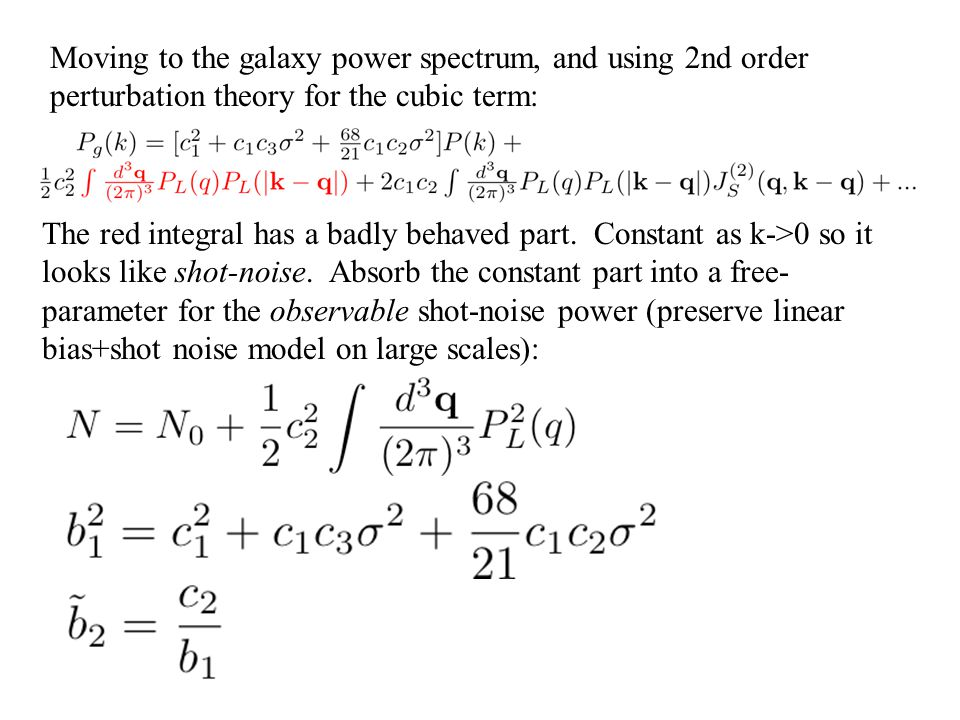 Moving to the galaxy power spectrum, and using 2nd order perturbation theory for the cubic term:
