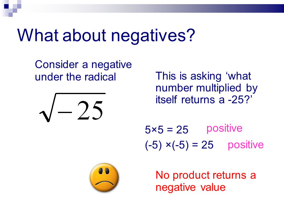 What about negatives Consider a negative under the radical