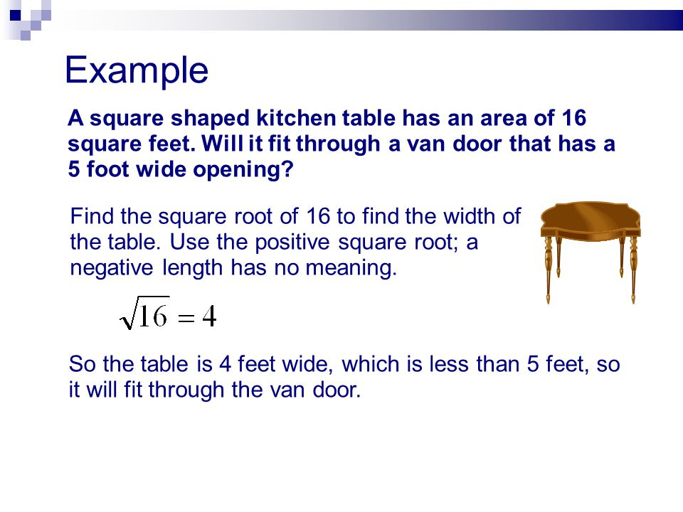 Example A square shaped kitchen table has an area of 16 square feet. Will it fit through a van door that has a 5 foot wide opening