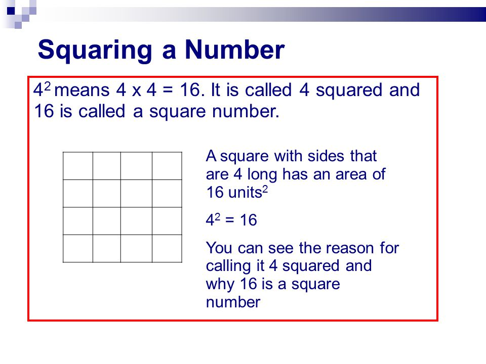 Squaring a Number 42 means 4 x 4 = 16. It is called 4 squared and 16 is called a square number.