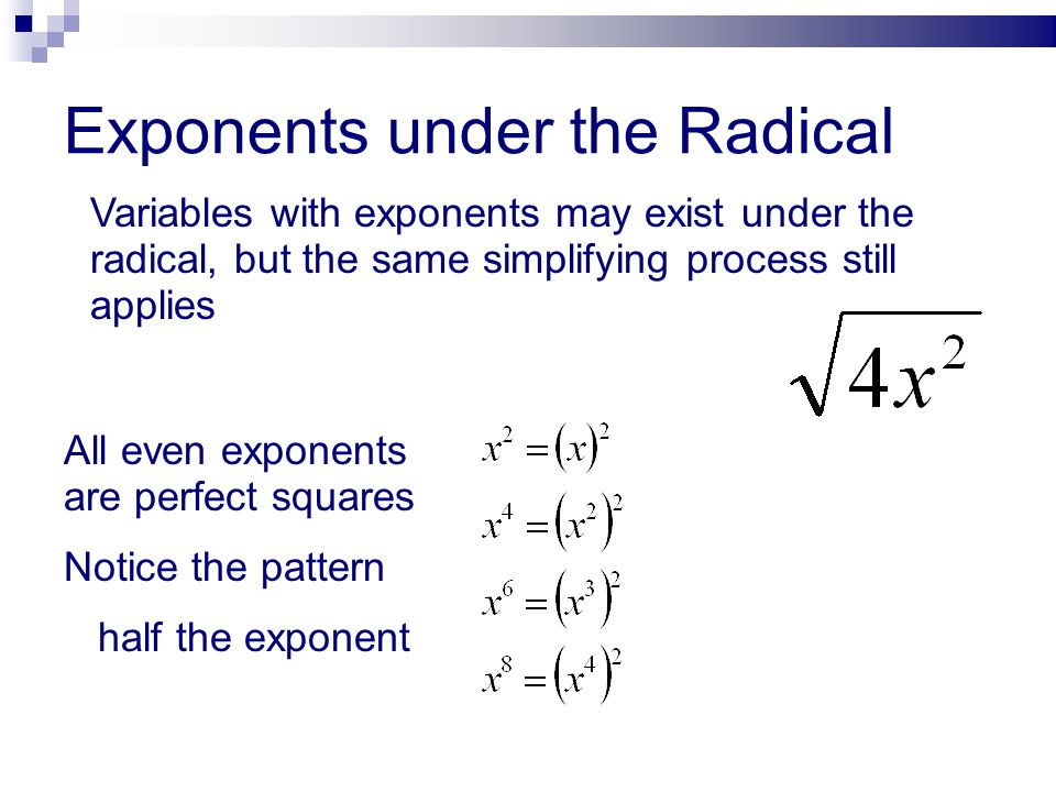 Exponents under the Radical
