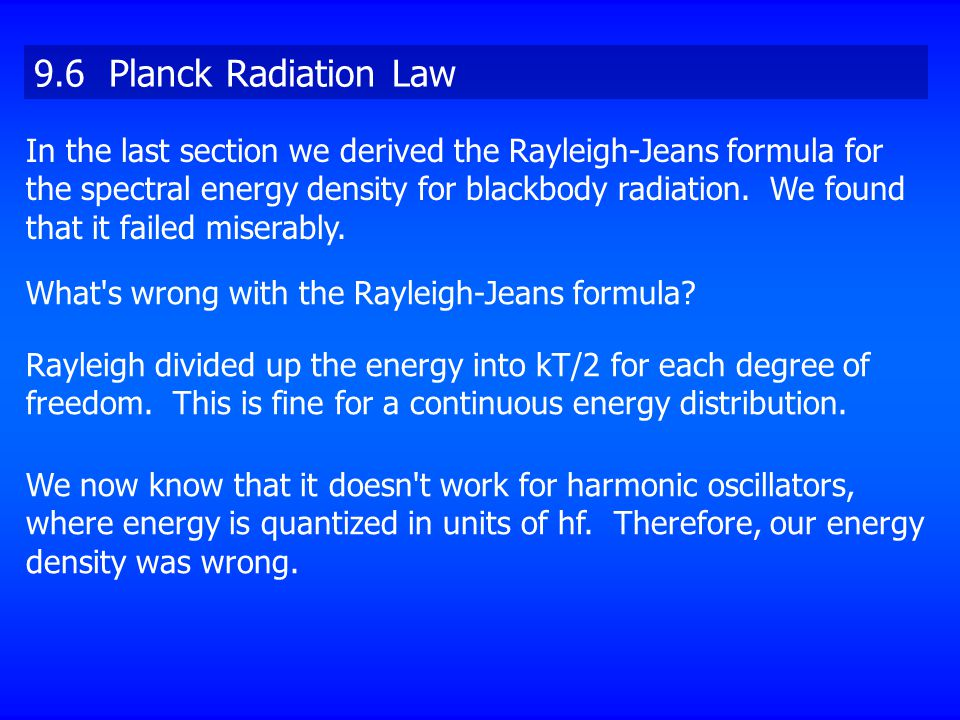 9.6 Planck Radiation Law