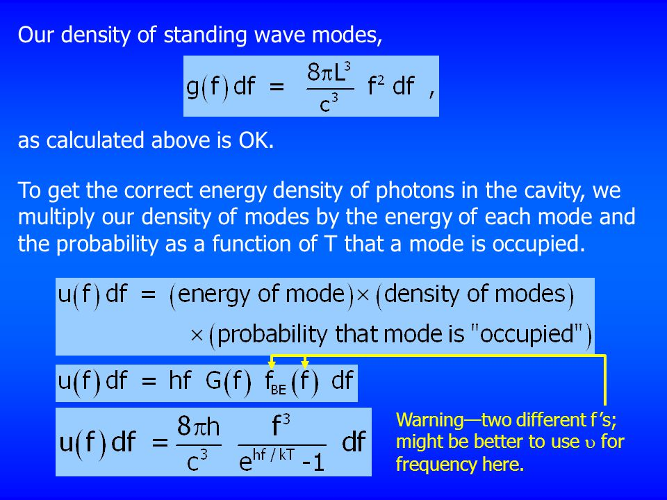Our density of standing wave modes,