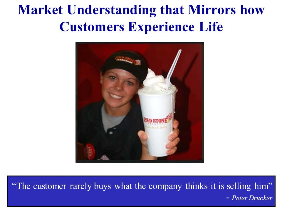 Market Understanding that Mirrors how Customers Experience Life