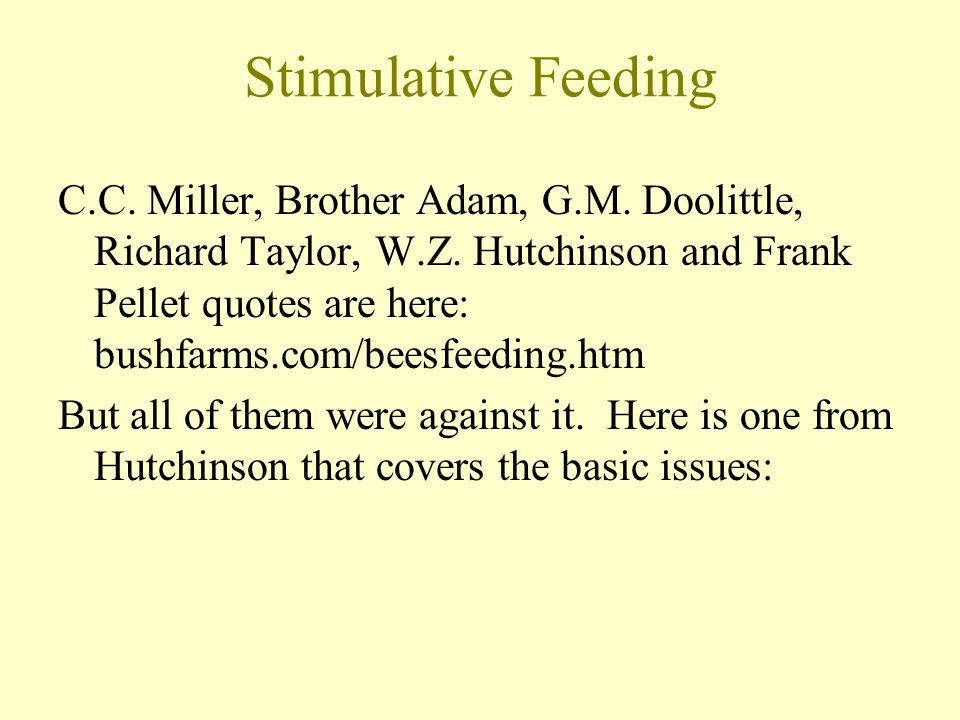 Stimulative Feeding
