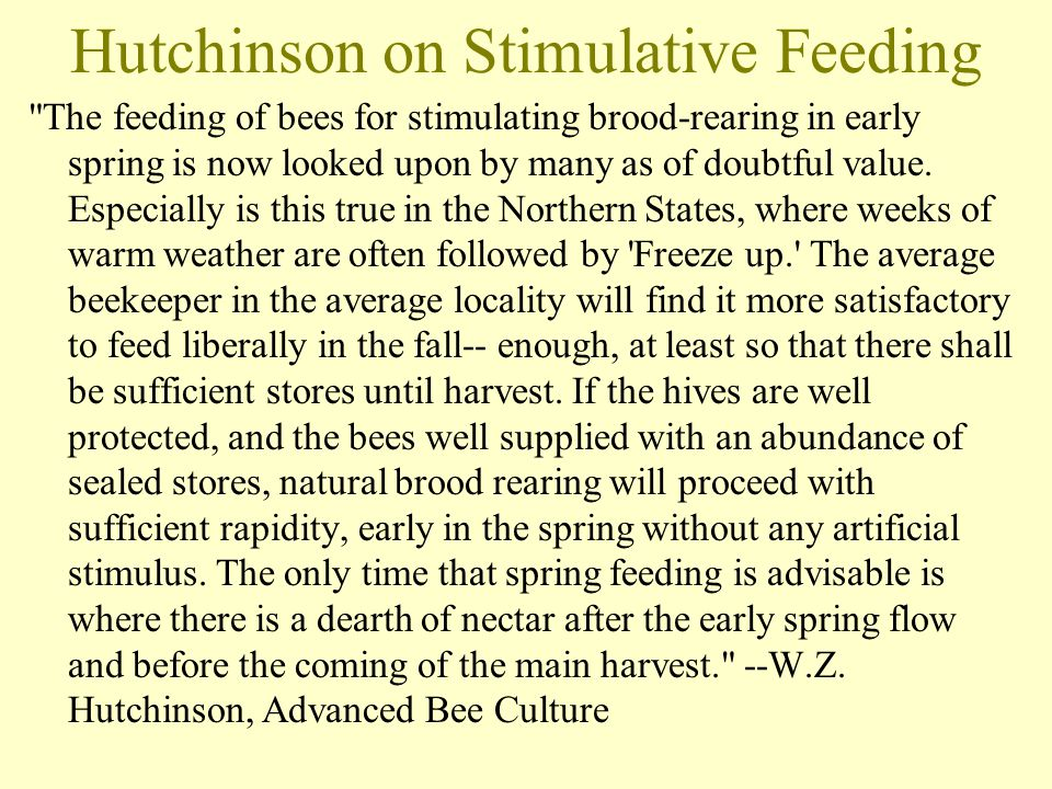 Hutchinson on Stimulative Feeding