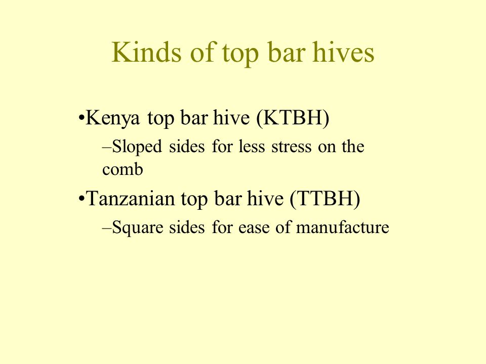 Kinds of top bar hives Kenya top bar hive (KTBH)