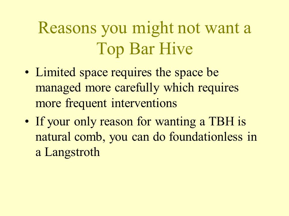 Reasons you might not want a Top Bar Hive