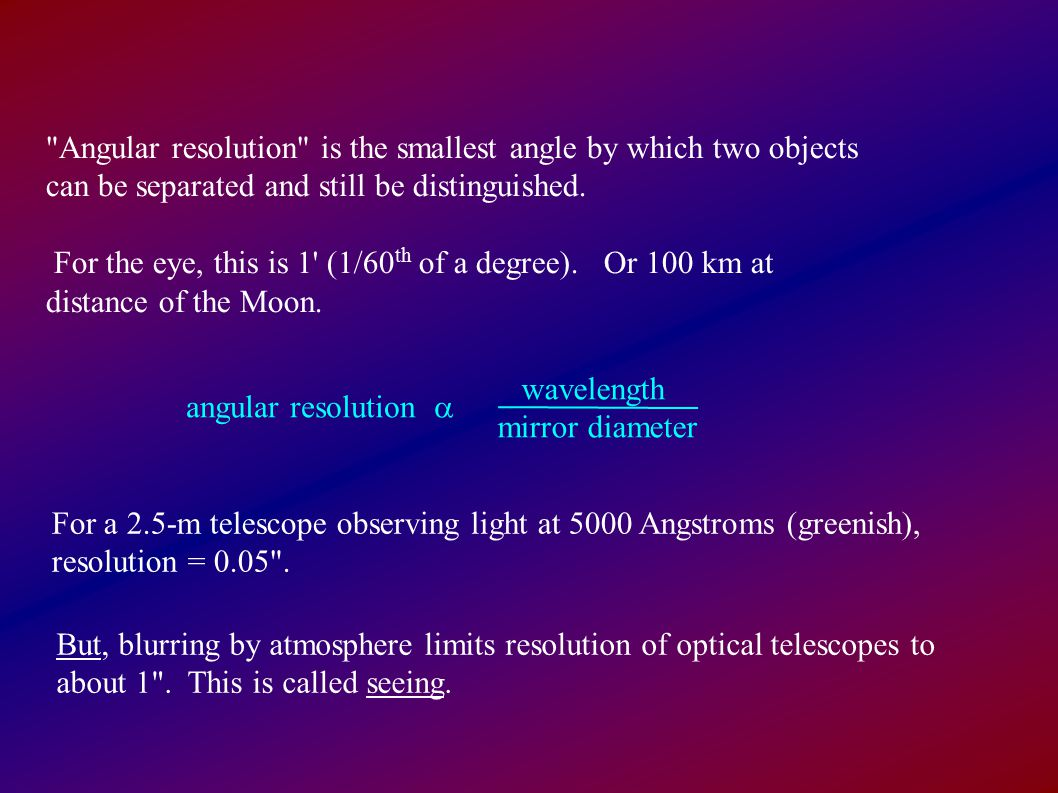 Angular resolution is the smallest angle by which two objects can be separated and still be distinguished.
