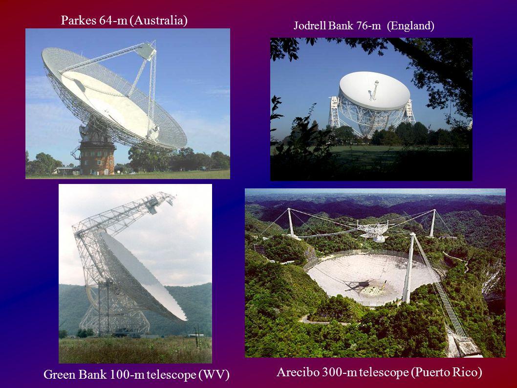Green Bank 100-m telescope (WV) Arecibo 300-m telescope (Puerto Rico)