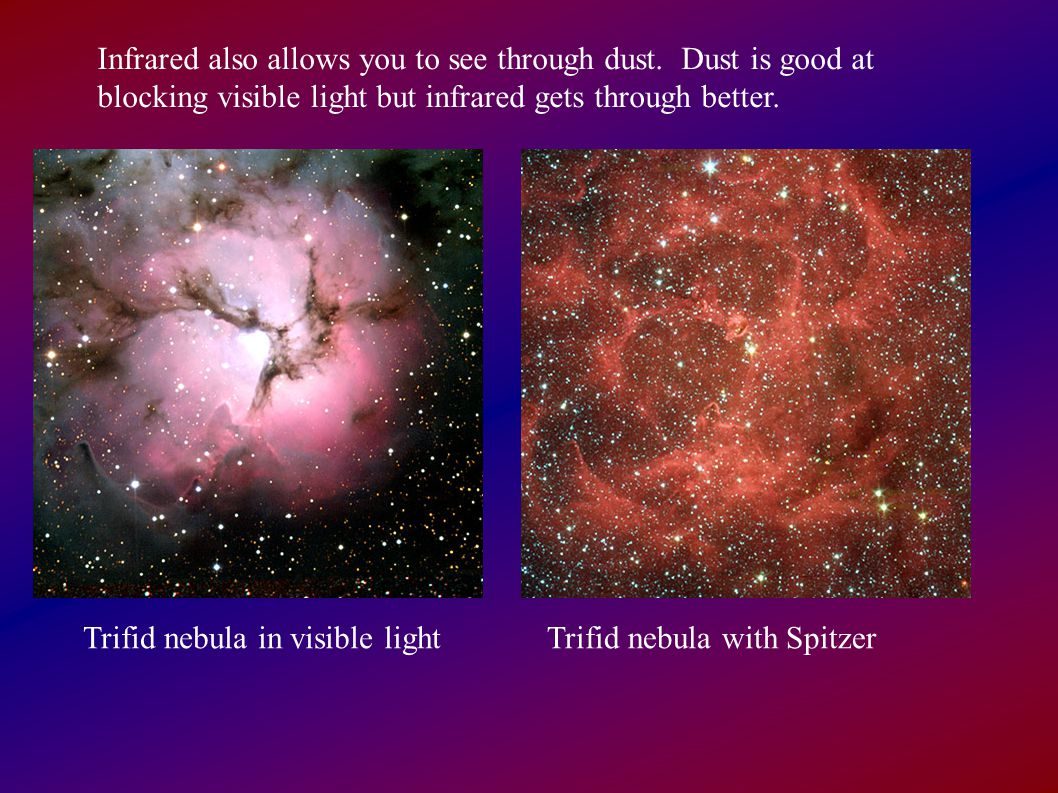 Infrared also allows you to see through dust. Dust is good at