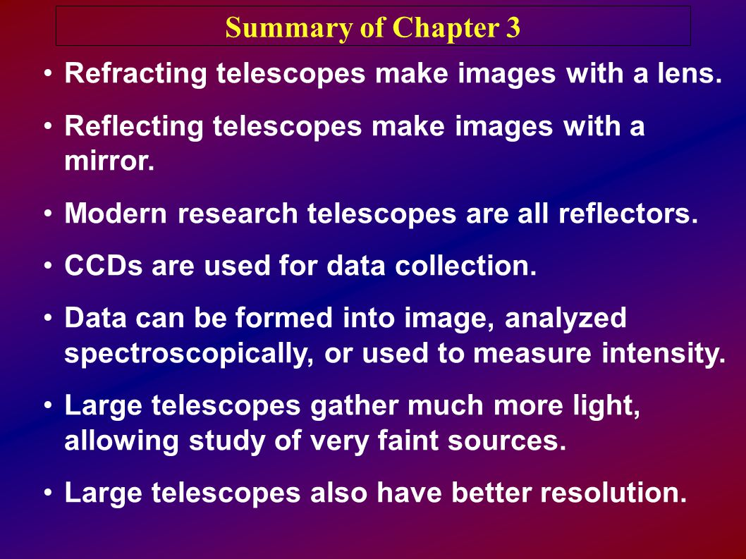 Summary of Chapter 3 Refracting telescopes make images with a lens.