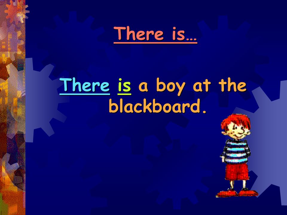 There is a boy at the blackboard.