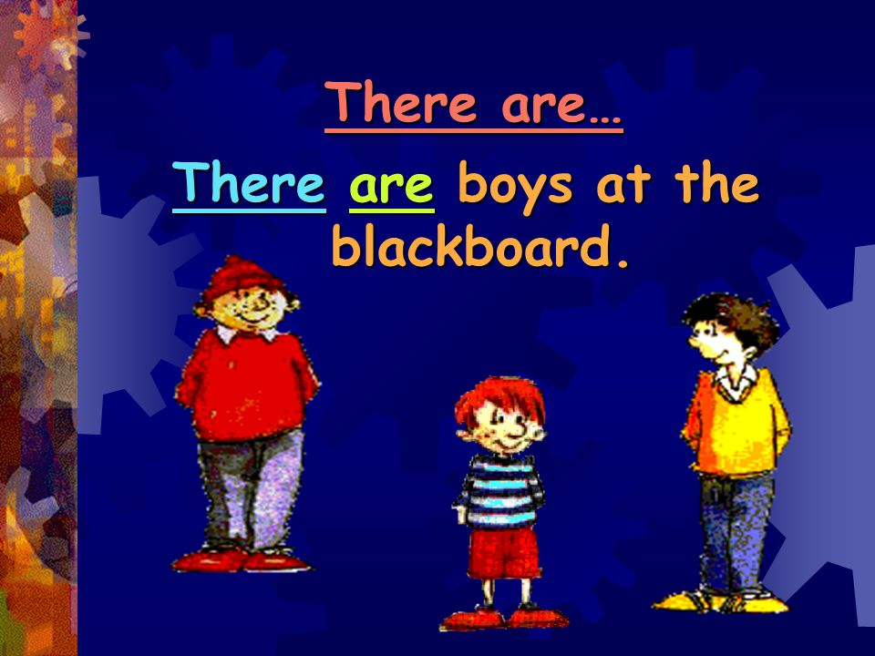 There are boys at the blackboard.