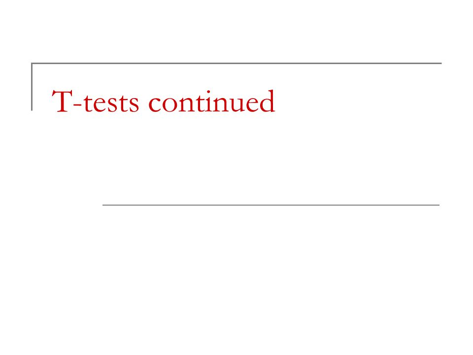 T-tests continued