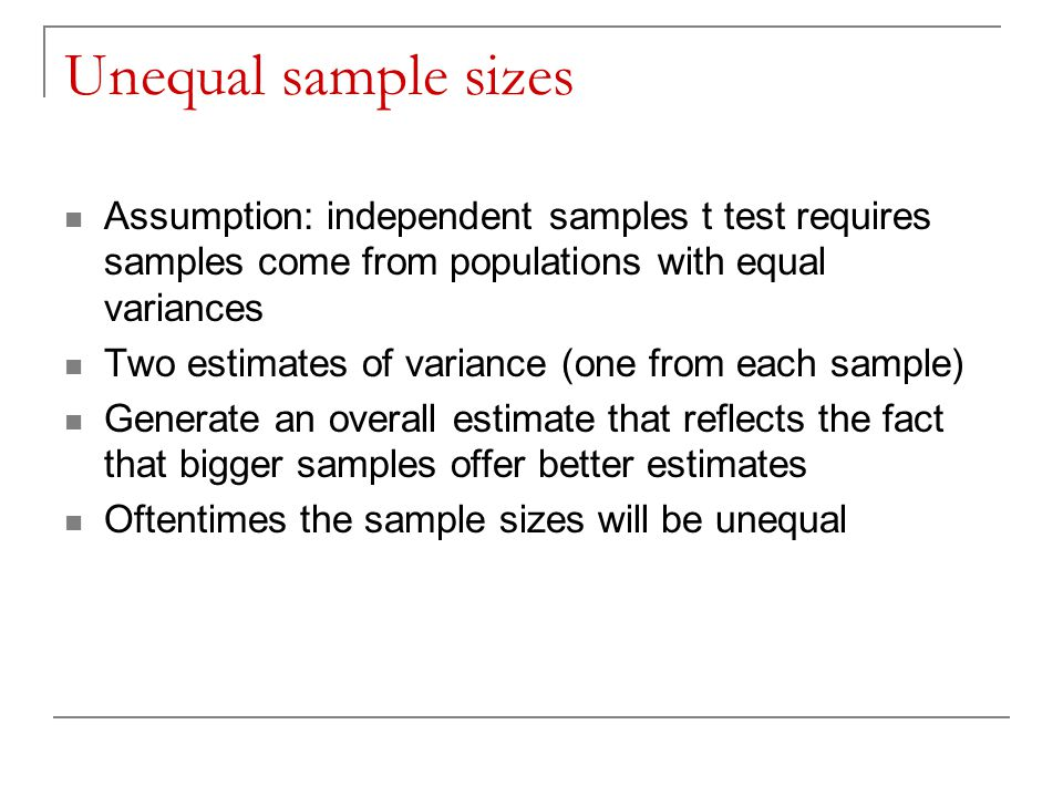Unequal sample sizes Assumption: independent samples t test requires samples come from populations with equal variances.