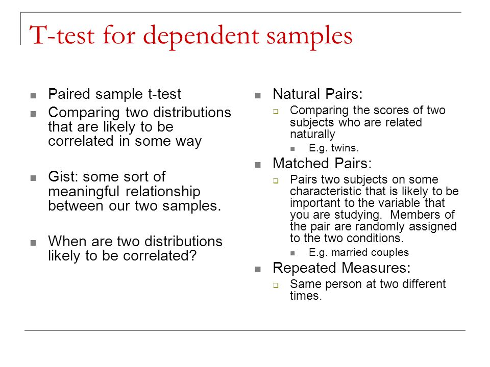 T-test for dependent samples