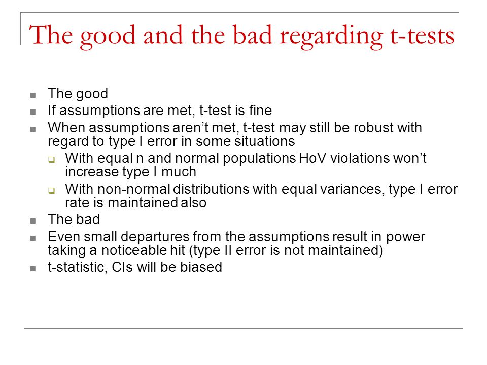 The good and the bad regarding t-tests
