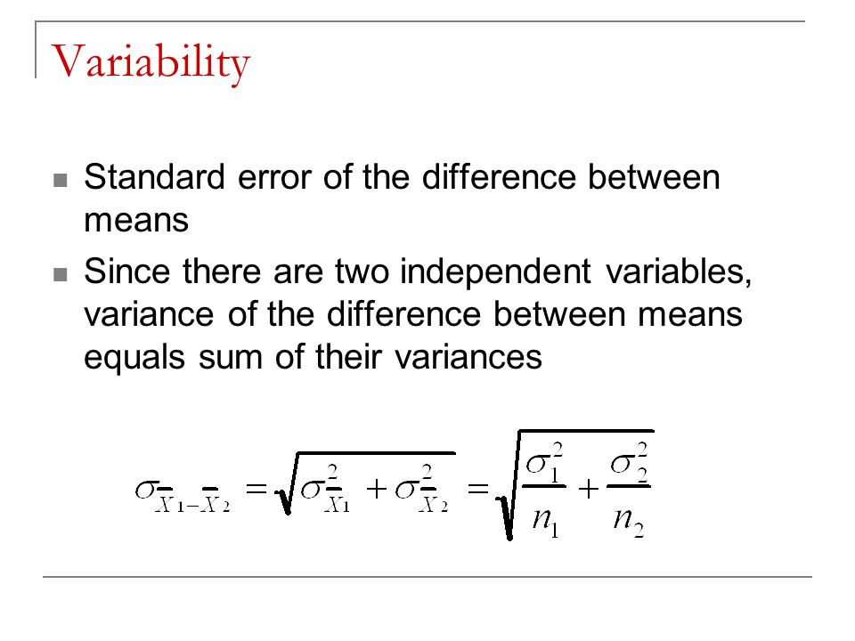 Variability Standard error of the difference between means