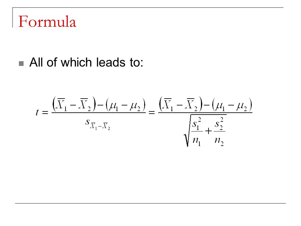 Formula All of which leads to: