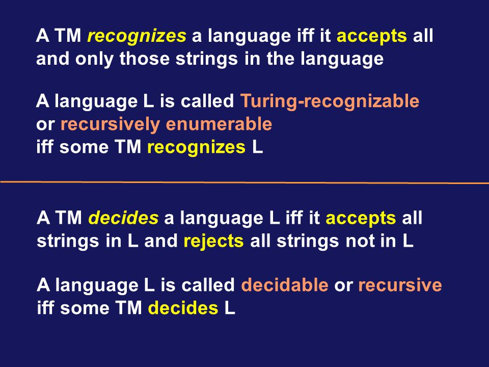 A language L is called Turing-recognizable or recursively enumerable